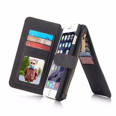 CaseMe 2 in 1 Luxury Genuine Leather Magnetic Wallet Case for iPhone 6 plus Black Phone Bag With Card Holder for iPhone 6s plus