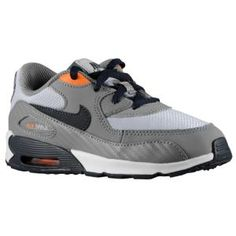 Nike Air Max 90 - Boys' Toddler - Running - Shoes - Cool Grey/Wolf Grey/Total Orange/Dark Obsidian