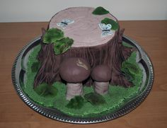 Tree stump with mushrooms cake II. Pařez s houbami II.