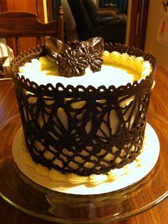 Dark Chocolate Lace Work Cake