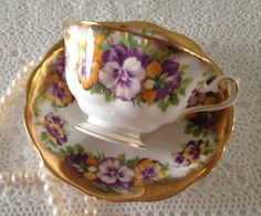 Royal Albert Tresure Chest Series China Tea Cup & Saucer Pansies