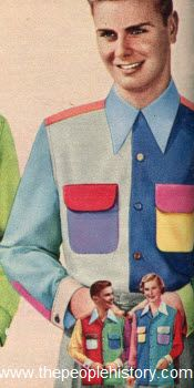 """1951- perfect proof that every era has bad clothing styles! This awful shirt sold for $2.95, and was made from """"lustrous rayon luana cloth""""."""