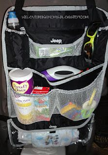 """add """"extras"""" to your car.  wipes, tissue, t.p.,diapers, snacks drink, toys, clothes, extra  Keep it organized on back of seat!!  Love this idea"""