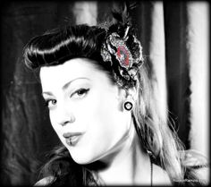 Rockabilly Pin Up Hair Flower with Feathers by Rotten Cherry Retro of Rockin' Ramzi's Rockabilly and Pin Up Emporium. Model : Annie Moore