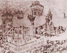 Castello di San Giorgio, (Castle of St. Fra Angelico, Renaissance, Vintage World Maps, Battaglia, Castle, 15th Century, Pintura, Castles