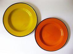 enamel plates: I want the orange one