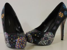 Amor for the dead Sugar Skull Day of the Dead (MADE TO ORDER) heels wi | jazznitup - Clothing on ArtFire