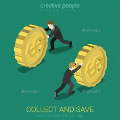 Money collect and save flat 3d web isometric infographic concept vector. Businessman rolling gold dollar coin. Monetary finance co
