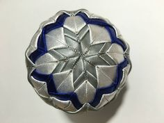 Dekorácie - vianočné patchworkové gule modro-strieborné s bielym lurexom - 7147180_