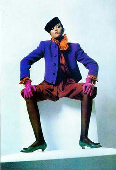 UK Vogue September 1982 Yves Saint Laurent Photo Helmut Newton Model Iman