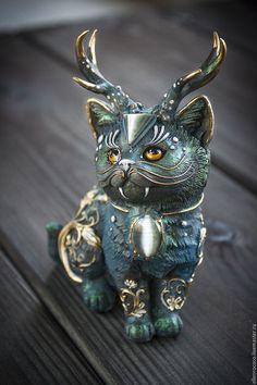 """Magic cat figurine / Статуэтки ручной работы. Статуэтка """" Волшебная кошка"""". Ellen Rococo. Ярмарка Мастеров. Синий кот, шаманизм"""