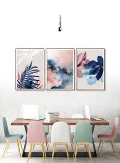 Set of 3 Wall Art, Botanical Prints, Navy Blue Leaf, Blush Pink Decor, Abstract Watercolor, Digital Download, Tropical Poster, Plant Prints THREE DIGITAL PRINTS INCLUDED! **************************************************** ❗️ PLEASE NOTE: 1 | This is a digital download item. No