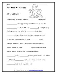 Printable mad lib worksheets, fun way to learn parts of speech!