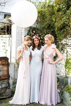 Pastel, floral bridesmaids. Beautiful textures - Maids to Measure Launches 'Vintage Maids'