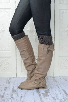 Leg Warmers From Old Sweaters with buttons sewn on, so easy!