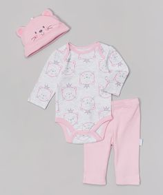 Look at this Pink & Gray Kitten Bodysuit Set - Infant on #zulily today!
