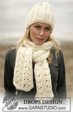 DROPS 98-28 - DROPS Hat and scarf in Eskimo - Free pattern by DROPS Design