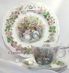 Vintage Royal Doulton Brambly Hedge Summer Tea Cup Saucer Salad Plate