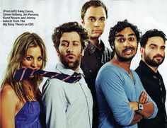 TV show:  The Big Bang Theory, starring Johnny Galecki, Jim Parsons and Kaley Cuoco