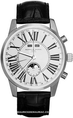 White face watch from the Moon Collection at Maurice de Mauriac, Swiss Watchmaker.  watches for men