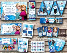 """Disney Frozen Party Kit BIRTHDAY party Printable - Invitation, favor tags, bottle labels, banner, 2"""" circles and more! - Digital File"""