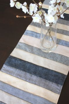 Easy Sewing Projects to Sell - Neutral Denim, Linens and Chambrays Table Runner - DIY Sewing Ideas for Your Craft Business. Make Money with these Simple Gift Ideas, Free Patterns, Products from Fabric Scraps, Cute Kids Tutorials Easy Sewing Projects, Sewing Projects For Beginners, Sewing Hacks, Sewing Crafts, Sewing Ideas, Fun Projects, Sewing Lessons, Diy Sewing Table, Sewing Diy