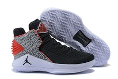 8be9d700af16 Men Air Jordan 32 XXXII Black Elephant Print Cement White Red Online Jordan  Shoes For Men