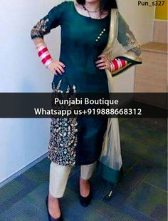 Adorable Dark Green Embroidered Punjabi Suit Product Code: Pun_s327 To order this dress , please call or WhatsApp us at +919888668312 We can design this Punjabi Suit in any color combination or on any fabric (price may vary according to fabric)