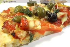 "Pizza roasted peppers and olives is delicious and filling. The base is prepared with the easy light & yummy ""no need to knead"" pizza dough. Italian Cooking, Italian Recipes, Knead Pizza, Savory Tart, Cooking Recipes, Healthy Recipes, Roasted Peppers, Pizza Dough, Light Recipes"