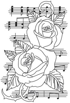 Fresh, creative designs and tutorials for machine and hand embroidery. Rose Coloring Pages, Coloring Books, Hand Embroidery Patterns, Embroidery Designs, Free Adult Coloring, Music Drawings, Floral Tattoo Design, Colorful Drawings, Copics