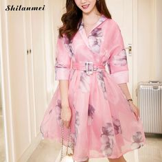 >> Click to Buy << Women Dresses 2016 New Summer Autumn Vestidos Organza Party Pink Lady Vintage Elegant Half Sleeve Printed with Belt Dress  #Affiliate