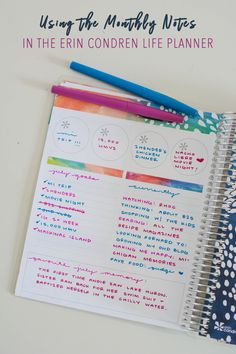 Fellow Erin Condren Life Planner addicts, I'm sharing how I've utilized the monthly notes pages in the new 2017-2018 Life Planner. #planneraddict