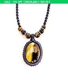 Tiger eye macrame necklace, macrame man necklace, Tiger eye necklace, Tiger eye macrame pendant, pendant necklace, tribal, Beach, Boho,Gift