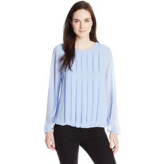 Chaus Women's Long Sleeve Pleat Front Blouse (160 RON) found on Polyvore featuring tops, blouses, chaus, chaus blouses, blue blouse, chaus tops and blue top