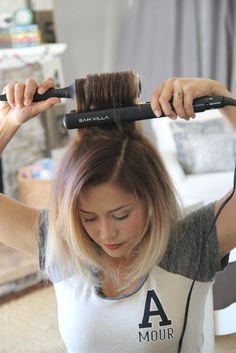 how to create volume with a flat iron and thermal brush this is a cool tip!!!