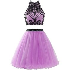 BessDress High Neck Homecoming Dresses 2017 Beaded Two Piece Prom... ($76) ❤ liked on Polyvore featuring dresses, cocktail party dress, purple prom dresses, two piece homecoming dresses, purple homecoming dresses and 2 piece homecoming dresses
