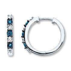 Blue & White Diamonds 1/10 ct tw Earrings Sterling Silver Hoops