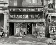 I just love that sign. People's Drug Store No. 5 circa 1920 804 8th Street N.E. Washington, D.C. via Shorpy.com