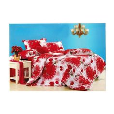 Smart Red Colored Printed Double Bedsheets With Two Pillow Covers