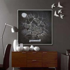 AMSTERDAM Chalkboard Map Art Black and White di NightLightMaps