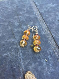 Citrine and Garnet Stacked Dangle Earrings.  Boho jewelry  Genuine Citrine Sundance Style  Yellow Gold  stack Earrings  product id: CGR917