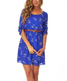 PinkBlush Blue & Cream Anchor Belted Roll-Tab Sleeve Dress | zulily