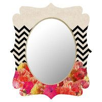 Bianca Green Chevron Flora 2 Wall Mirror