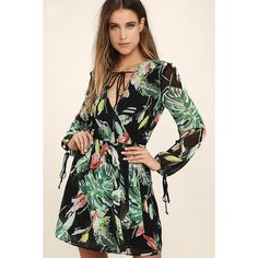 Adelyn Rae Night on the Water Black Floral Print Dress ($110) ❤ liked on Polyvore featuring dresses, black, flower print dress, long sleeve floral dress, sheer long sleeve dress, floral dresses and floral chiffon dresses