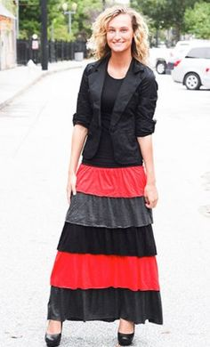Salma  modest color block tiered maxi skirt with elastic waist in grey, red and black