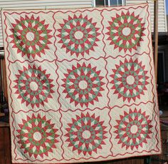 Impressive Early 1800's Mariners Compass Star Quilt Red and Green | eBay, whisper-hill