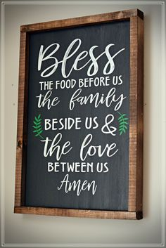 12x18 Blessed Wood Sign - painted with latex paint, framed with walnut stain. - Fully Customizable. Includes Hardware to Hang Sign.  Pinterest inspired Design by Prairie Lily Design. #woodsign #wood #framedsign #farmhousedecor #farmhouse