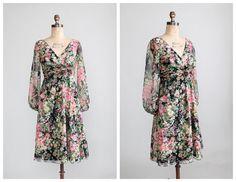Vintage 1960s Dress 60s B. Altman Floral by RaleighVintage
