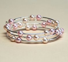 Floating Pearl Memory Wire Bracelet - Pale Pink and Cream Rose Swarovski Crystal Pearl Bracelet with Bright Silver Curved Tube Beads