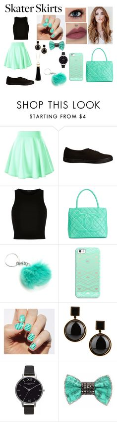 """""""Skater SKirts"""" by klarisadevill ❤ liked on Polyvore featuring Vans, River Island, Chanel, Casetify, Marc by Marc Jacobs, Olivia Burton, Bijoux de Famille and Sparkling Sage"""
